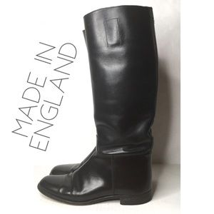 Vintage black leather English riding boots 9.5